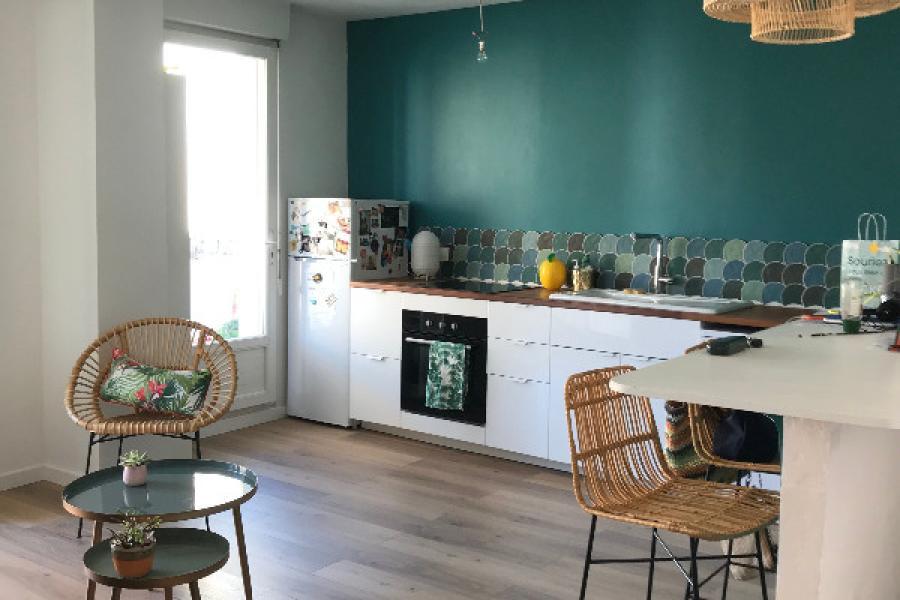 Aménagement et Décoration d'une cuisine et d'un salon attenant
